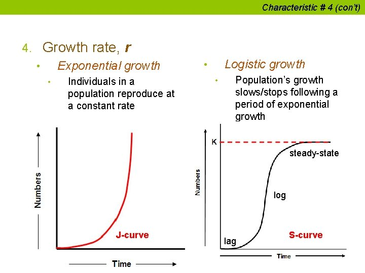Characteristic # 4 (con't) 4. Growth rate, r • Exponential growth • Individuals in