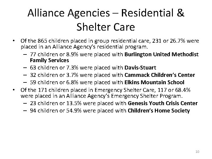 Alliance Agencies – Residential & Shelter Care • Of the 865 children placed in