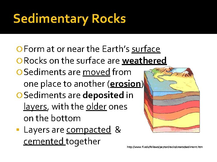 Sedimentary Rocks Form at or near the Earth's surface Rocks on the surface are