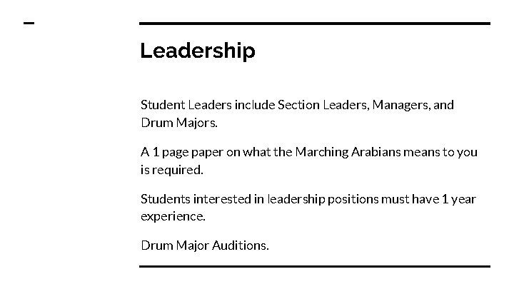 Leadership Student Leaders include Section Leaders, Managers, and Drum Majors. A 1 page paper