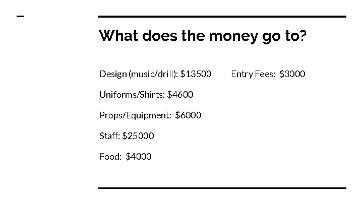 What does the money go to? Design (music/drill): $13500 Uniforms/Shirts: $4600 Props/Equipment: $6000 Staff: