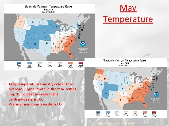 May Temperature • May temperatures mostly colder than average. Signal more in the max