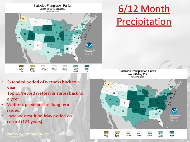 6/12 Month Precipitation • Extended period of wetness back to a year. • Top