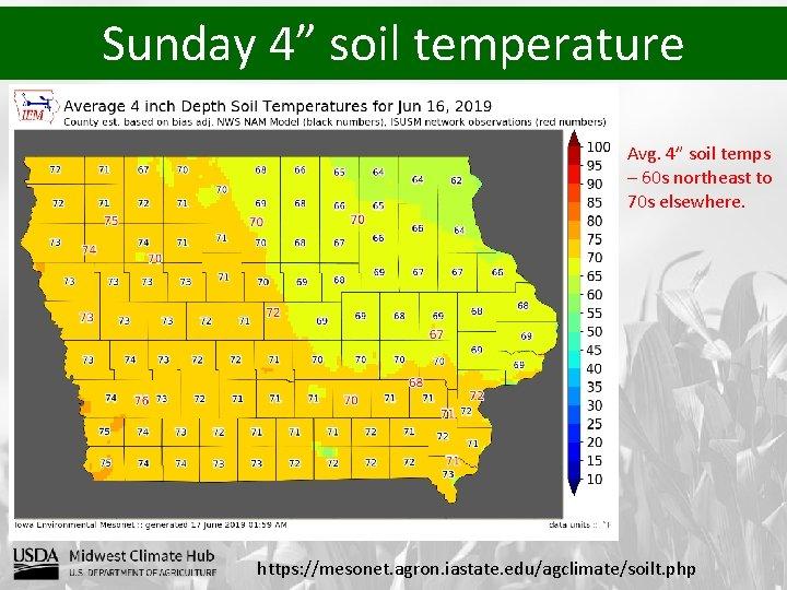"Sunday 4"" soil temperature Avg. 4"" soil temps – 60 s northeast to 70"