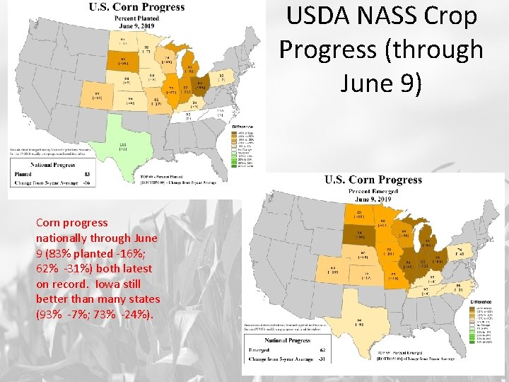 USDA NASS Crop Progress (through June 9) Corn progress nationally through June 9 (83%