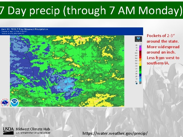 """7 Day precip (through 7 AM Monday) Pockets of 2 -3"""" around the state."""