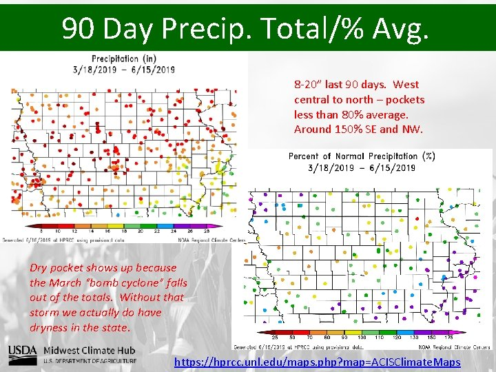 """90 Day Precip. Total/% Avg. 8 -20"""" last 90 days. West central to north"""