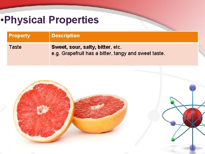 • Physical Properties Property Description Taste Sweet, sour, salty, bitter, etc. e. g.