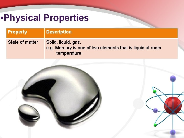 • Physical Properties Property Description State of matter Solid, liquid, gas. e. g.