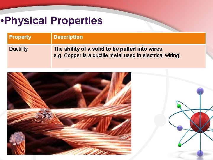 • Physical Properties Property Description Ductility The ability of a solid to be