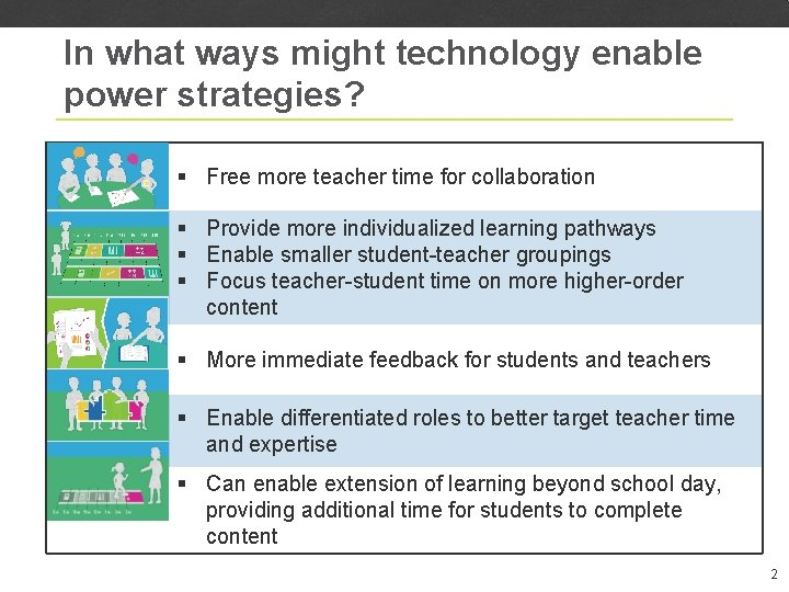 In what ways might technology enable power strategies? § Free more teacher time for