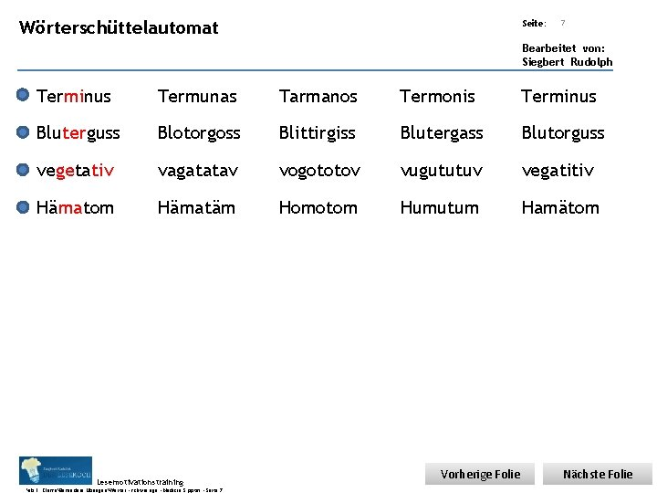 Übungsart: Wörterschüttelautomat Seite: 7 Bearbeitet von: Siegbert Rudolph Terminus Termunas Tarmanos Termonis Terminus Bluterguss