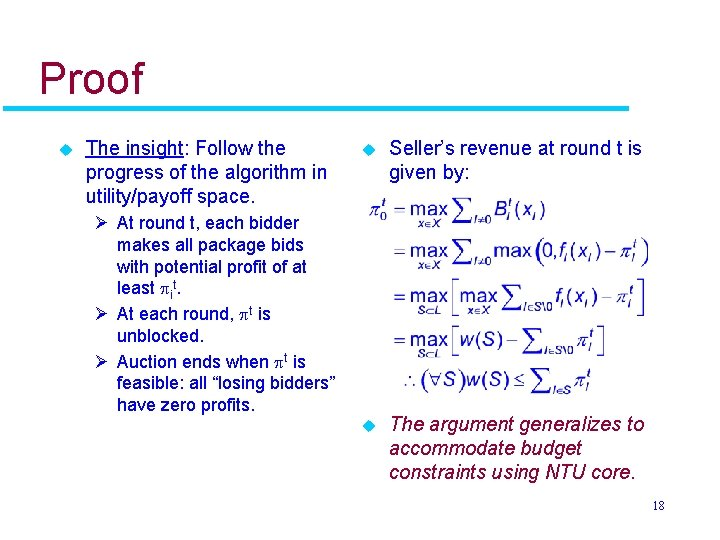 Proof u The insight: Follow the progress of the algorithm in utility/payoff space. u