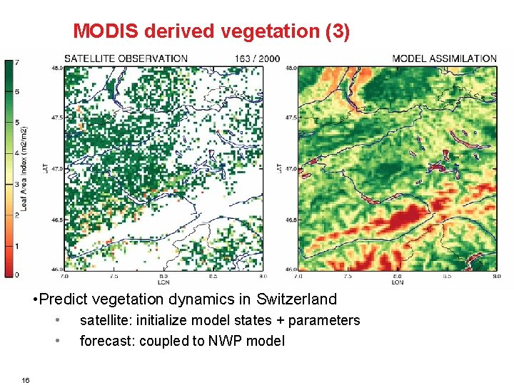 MODIS derived vegetation (3) • Predict vegetation dynamics in Switzerland • • satellite: initialize