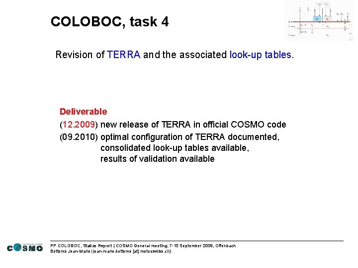 COLOBOC, task 4 Revision of TERRA and the associated look-up tables. Deliverable (12. 2009)