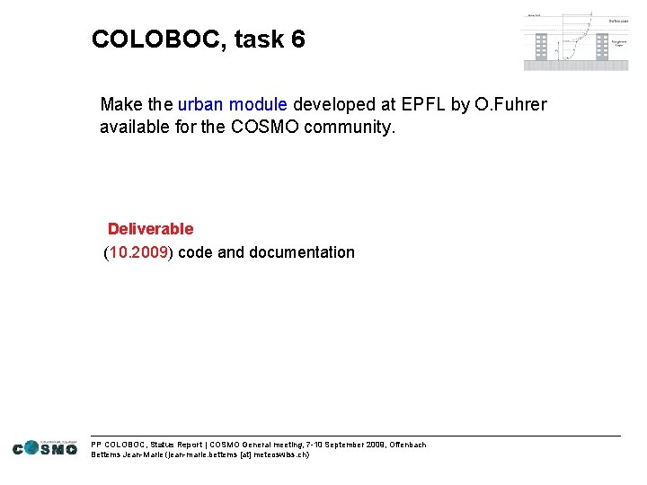 COLOBOC, task 6 Make the urban module developed at EPFL by O. Fuhrer available