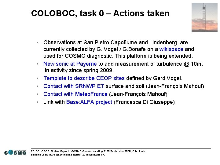 COLOBOC, task 0 – Actions taken • Observations at San Pietro Capofiume and Lindenberg