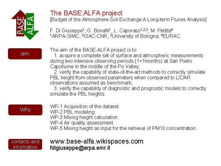 The BASE: ALFA project [Budget of the Atmosphere-Soil Exchange: A Long-term Fluxes Analysis] F.