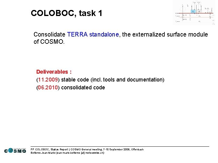 COLOBOC, task 1 Consolidate TERRA standalone, the externalized surface module of COSMO. Deliverables :