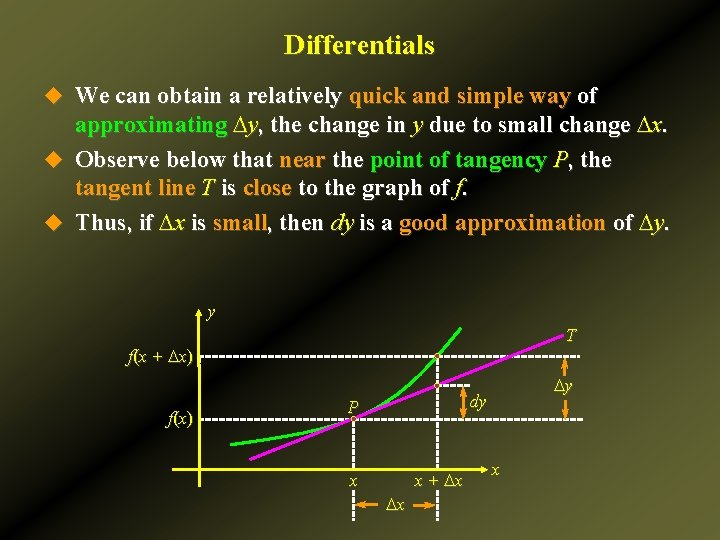Differentials u We can obtain a relatively quick and simple way of approximating Dy,