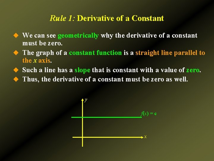 Rule 1: Derivative of a Constant u We can see geometrically why the derivative
