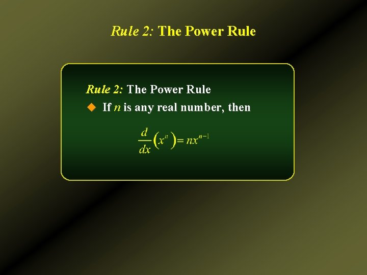 Rule 2: The Power Rule u If n is any real number, then