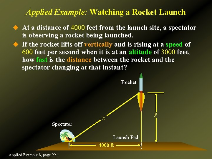 Applied Example: Watching a Rocket Launch u At a distance of 4000 feet from