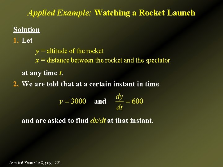 Applied Example: Watching a Rocket Launch Solution 1. Let y = altitude of the