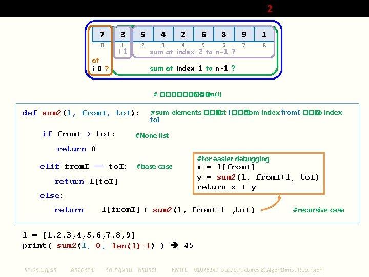 Sum of Array (Python List) Elements 2 7 0 at i 0 ? 3