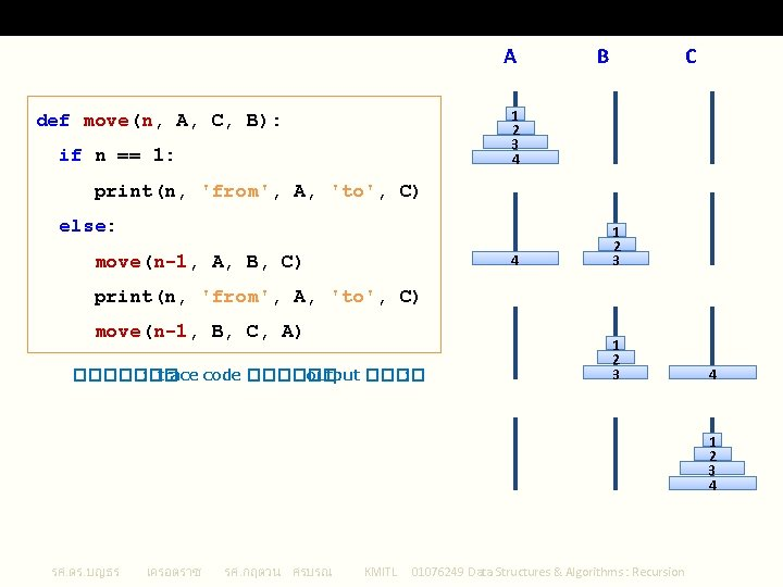 Tower of Hanoi A B C 1 2 3 4 def move(n, A, C,