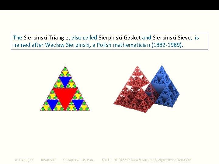 Sierpinski Triangle The Sierpinski Triangle, also called Sierpinski Gasket and Sierpinski Sieve, is named