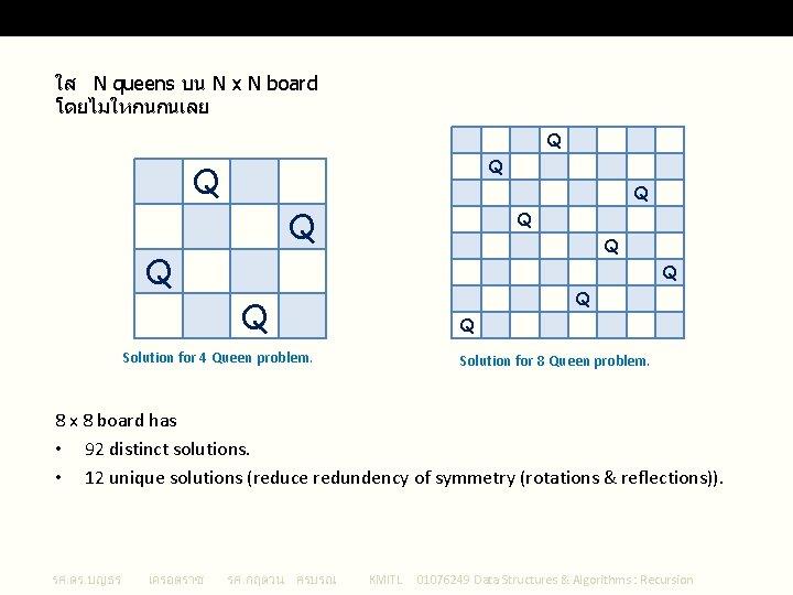 The N Queen Problem ใส N queens บน N x N board โดยไมใหกนกนเลย Q