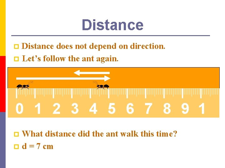 Distance does not depend on direction. p Let's follow the ant again. p 0