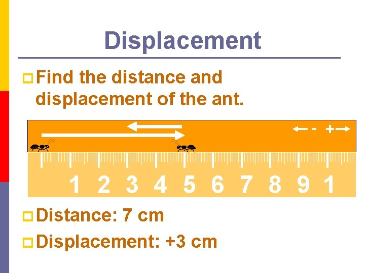 Displacement p Find the distance and displacement of the ant. - + 1 2