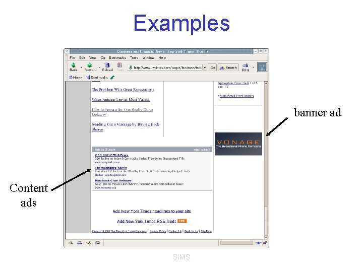 Examples banner ad Content ads SIMS