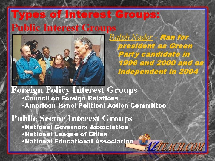 Types of Interest Groups: Public Interest Groups Ralph Nader - Ran for president as