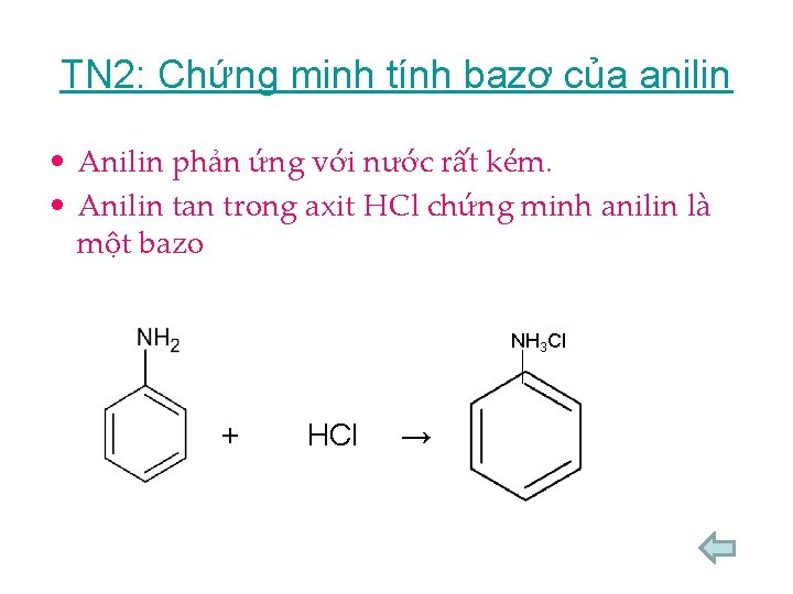 TN 2: Chứng minh tính bazơ của anilin • Anilin phản ứng với nước