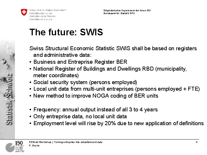 Eidgenössisches Departement des Innern EDI Bundesamt für Statistik BFS The future: SWIS Swiss Structural