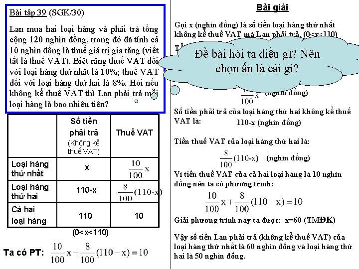Bài giải Bài tập 39 (SGK/30) Lan mua hai loại hàng và phải trả