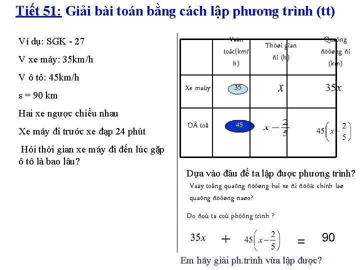 Tiết 51: Giải bài toán bằng cách lập phương trình (tt) Vaän toác(km/ h)