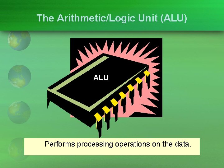 The Arithmetic/Logic Unit (ALU) ALU Performs processing operations on the data.