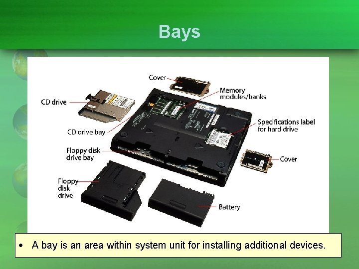 Bays A bay is an area within system unit for installing additional devices.