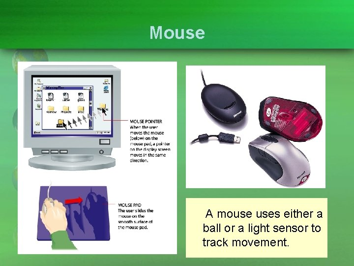Mouse A mouse uses either a ball or a light sensor to track movement.