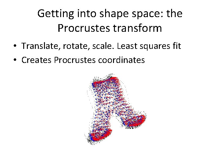 Getting into shape space: the Procrustes transform • Translate, rotate, scale. Least squares fit