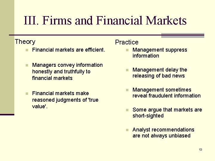 III. Firms and Financial Markets Theory Practice n Financial markets are efficient. n Management