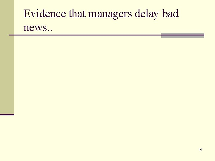 Evidence that managers delay bad news. . 14