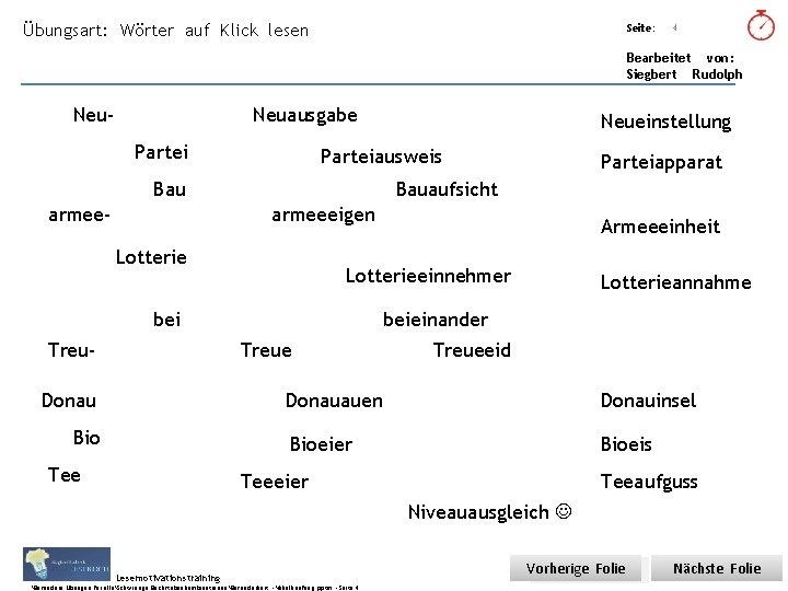 Übungsart: Wörter auf Klick lesen Seite: Titel: Quelle: 4 Bearbeitet von: Siegbert Rudolph Neu-