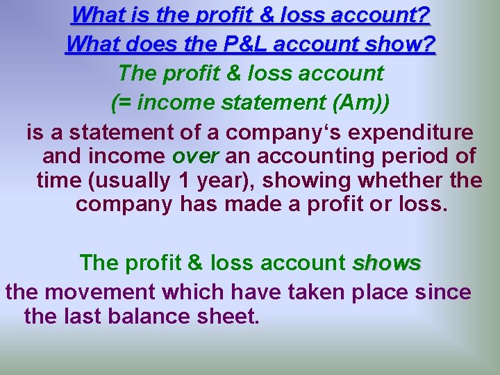What is the profit & loss account? What does the P&L account show? The