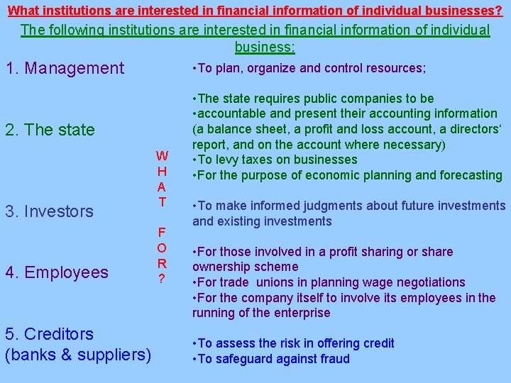 What institutions are interested in financial information of individual businesses? The following institutions are