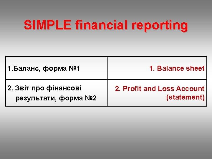 SIMPLE financial reporting 1. Баланс, форма № 1 2. Звіт про фінансові результати, форма